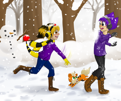 HPM SS - Cleo and Spencer Snowball Fight by tomato-rabbit