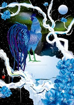 Blue Rooster with snow by SagaMasahiko