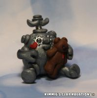 Polymer Clay Robot I Love My Teddy Bear Figurine by KIMMIESCLAYKREATIONS