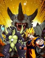 Godzilla and Goku VS Bagan!! by sonichedgehog2