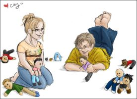 Me and Lyndsey and dollies by clayangel