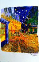 The night cafe in the place LeMartine in Arles1888 by professorlongfello