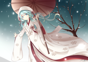 Snow Miku + SPEEDPAINT by Yamiis