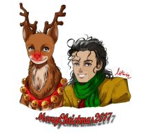 .:Merry Christmas 2017:. - Michael And Rudolph by MJSonic1993