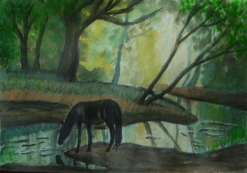 Horse River Forest Watercolor by Blessed-by-gore