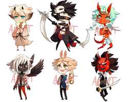 6 ADOPTABLES ALL TAKEN by Cate-adoptables