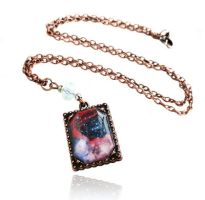 Handmade Resin Midnight Pink Galaxy Necklace by crystaland
