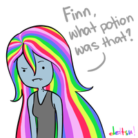Rainbow hair potion? by dettsu