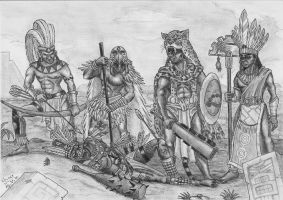 Aztec adventuring party by Fernoll