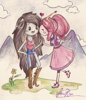 Marceline and Bubblegum by Curly-Qs