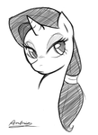 Rarity with Her Mane Tied Back by Ambris