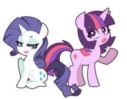 Rarity and Twilight Sparkle by nekozneko