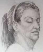 Figure Drawing - Portrait Practice by Linitha