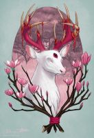 White Stag with Magnolias by Jadiekins