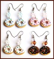 Sprinkle Donut Earrings by cherryboop
