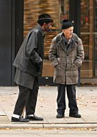 Men at Bus Stop by daveant