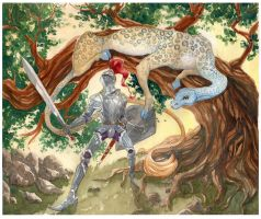 King Pellinore and the Questing Beast by CheshFire