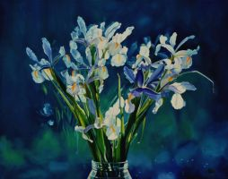 Dutch Iris's - oil painting by AstridBruning
