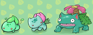 Bulbasaur, Ivysaur, and Venusaur by LizardBat
