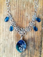 Blue Glass Fairymail Necklace by FaerieForgeDesign