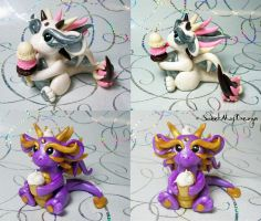 Neapolitan Ice Cream and Cupcake Dragons by SweetMayDreams