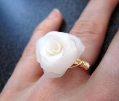 Snow white fimo rose ring by sancha310sp