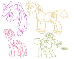 Applejack Sketches 4 by Geomancing
