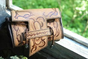 Leather handbag  Folk by dogdreams64