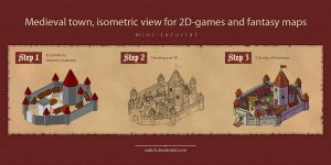 Medieval town in isometric view tutorial by Vadich