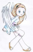 Cheerful angel colored pencils by pokukene
