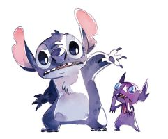 Stitch and Sableye by bluekomadori