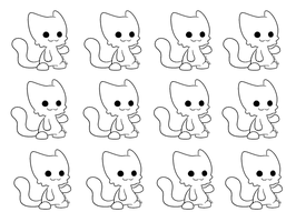 Updated Chibi Cat Lineart [MS-Paint] by CocoaAdopts