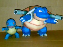 squirtle y blastoise papercraft by geokyls