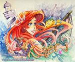 The Little Mermaid Nautical Watercolor Painting by Lemia