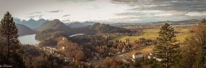 Panoramic view from Neuschwanstein Castle by mydarkeyes