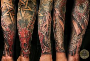 Baphomet rotten hand tat by 2Face-Tattoo