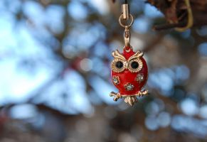 red cute owl by M3los93