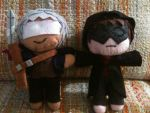 Bastion and Jaden Custom Plushies for Will by Enirre-Poketo