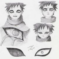 Gaara sketches by Demi-goddess