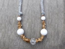 Statement Gold and White Necklace by Lady-Kiwi