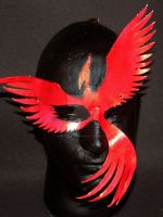 Red Leather Phoenix Mask with Metallic Glaze by themotleymasquerade
