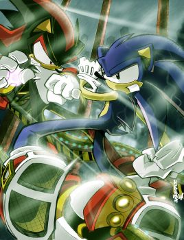 Sonic Versus Shadow by herms85