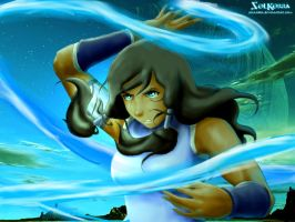 Korra Waterbender in the Spirit world by SolKorra