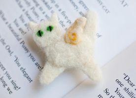 Angel Cat Needle Felted Pin by skeletoninadress