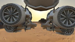 Piston Pod Racer (rear view) by MikeBourbeauArt