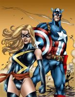 Ms Marvel and Captain America by MarcBourcier