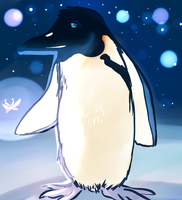 Mr. Penguin and the glowing moth by HetaliasHero