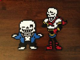 Sans and Papyrus Overworld Perler Sprites by UberNerd121