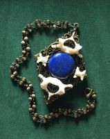 Wire Wrapped Vertebrae and Lapis Sphere Necklace by bluereverie