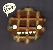 A waffle stuck in a scanner by SpaceWaffleDelivery